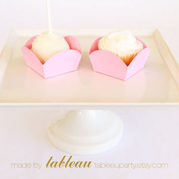 Bubblegum Pink Scallop Mini Cups for Dessert and Candy - Set of 36