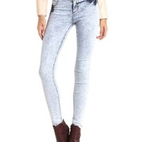 High-Waisted Acid Wash Skinny Jeans by Charlotte Russe - Lt Acid Wash