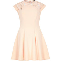River Island Womens Light pink lace top skater dress