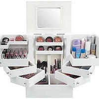 As Is Luxury Deluxe Wood Cosmetic Box with Mirror by Lori Greiner — QVC.com