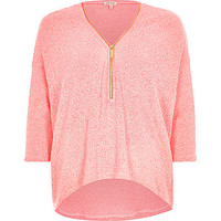 River Island Womens Coral knitted zip front top