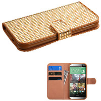 Book-Style Diamond Wallet Case for HTC One M8 - Gold