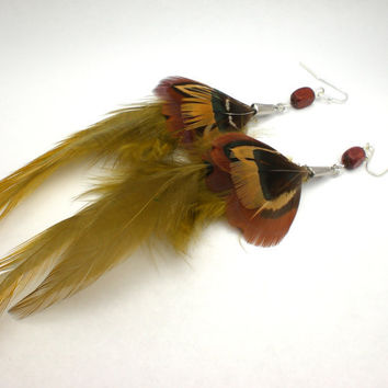 Earth Tone Brown and Green Feather Earrings by donaarg on Etsy