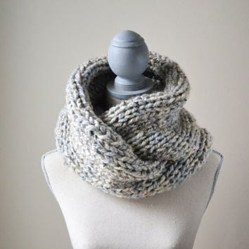 Chunky Oatmeal and Gray Knit Infinity Scarf - Ready To Ship