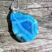Blue Agate Slab Crystal Gemstone Pendant - Large