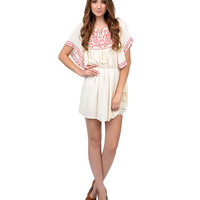 1970s Style Cream & Red Embroidered Open Sleeve Tunic Dress