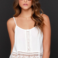 Above Ground Ivory Lace Crop Top