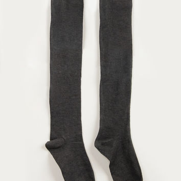 Over-the-Knee Solid Socks - Charcoal