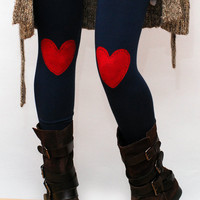 Red heart, love, nautical, hand painted patch and stich, eco friendly leggings