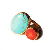 Turquoise Coral gold plated silver ring by toosis on Etsy