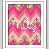 8 x 10 Wall Decor Print, Modern Home Decor, Initials Print, Glitter Chevron Print- Customizable Full Name Initials with Chevron Print