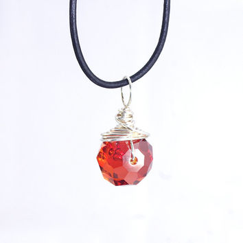 Rondelle Charm Necklace – Red Orange Crystal Leather Pendant Necklace – Minimal Jewelry - Mothers Day Present