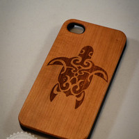 Turtle B017 Laser engraved Wood case for iPhone4/4S/5 with mat plastic