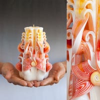 Carved candles - White candle - Orange candle