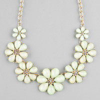 Full Tilt Facet Flower Statement Necklace Mint One Size For Women 22842552301
