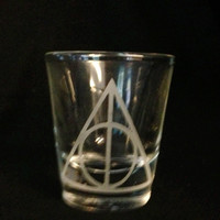 Harry Potter Deathly Hallows Inspired Custom Etched Shot Glass Hogwarts Express