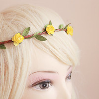 dainty flower crown / dainty yellow rose floral hair wreath headband, halo, bridal, wedding, festival, party, summer, spring.