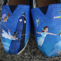 Peter Pan Original Custom Acrylic Painting for Toms/Canvas Shoes