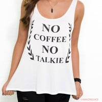 No Coffee No Talkie Ivory Graphic Tank