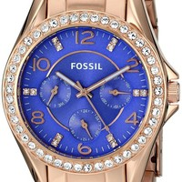 Fossil Women's ES3656 Riley Crystal-Accented Rose Gold-Tone Stainless Steel Watch