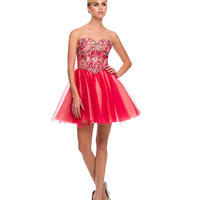 Red Strapless Sweetheart Beaded Bodice Dress 2015 Prom Dresses