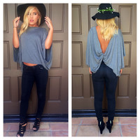 Knot Your Girl Draped Top - GREY