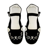 Cat Shoes  Embroidered Kitty Flats Mary Janes by emandsprout