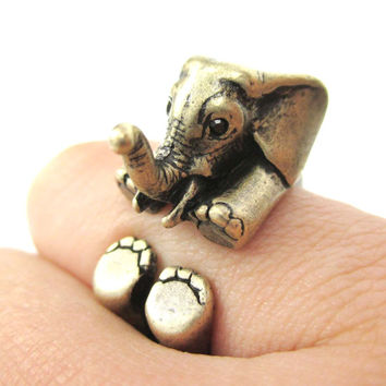 3D Realistic Baby Elephant Animal Wrap Around Ring in Brass | US Sizes 5 to 8.5