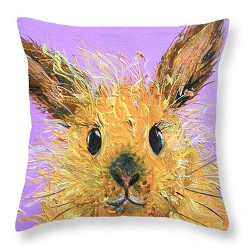 "Easter Bunny Painting - Poppy Throw Pillow 14"" x 14"""