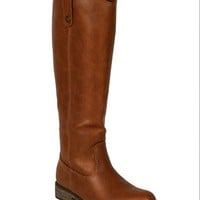 Breckelle AE45 Women Leatherette Round Toe Riding Knee High Boot - Tan (Size: 6.0)