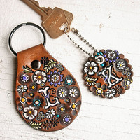 Custom initial leather key ring - Floral Pattern Bag tag - hand painted and hand stamped - Your Choice of Keychain Shape