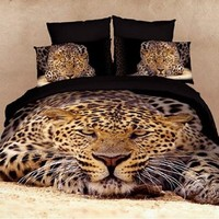 DIAIDI Leopard Animal Print 3D Bedding Oil Painting Duvet Cover Queen Size Luxury Bedding Set Cotton Twill Active Print Bed Sheets 4Pcs