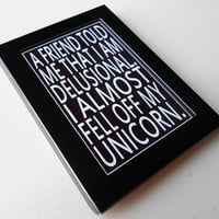 Fridge Magnet with Unicorn Quote in Black and by LeMaisonBelle