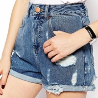 ASOS High Waist Denim Mom Shorts in Mid Wash with Rips