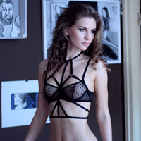 """The """"Ruby"""" Harness in Black - bondage inspired lingerie accessorie."""