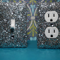 SET Chunky SILVER Glitter Swichplate Outlet Covers ANY Styles