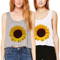 Sunflower Crop Tank Boxy Flowy Workout Gym White Grey Cropped Top Flowers Summer