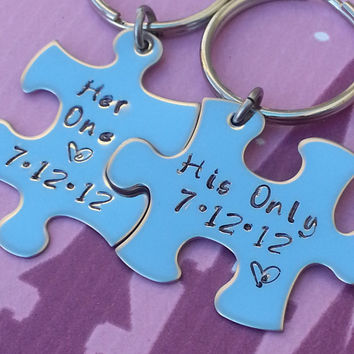 His and Her Puzzle Piece Keychain Set  With Date - Couples,Wedding, Anniversary Keychain