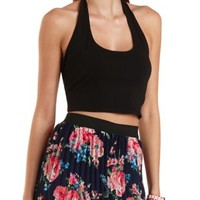 Black Tie-Back Halter Crop Top by Charlotte Russe