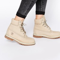 "Timberland 6"" Premium Lace Up Off White Flat Boots"