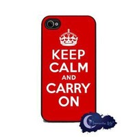 Keep Calm and Carry On - Red iPhone 4 or 4s Cover, Cell Phone Case