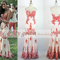2014 Red Prom Dress, Red Lace Gown Rich Applique Prom Dress, Evening Dress,Wedding Dresses,Wedding Gown,Evening Gown,Party Dress,wedding