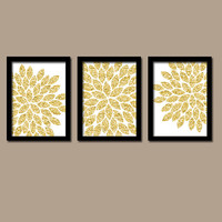 GLITTER Glam Gold Bold Flower Burst Dahlia Bloom Artwork Set of 3 Trio Prints WALL Decor Abstract ART Picture Bedroom Bathroom