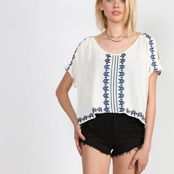 Embroidered Aztec Top