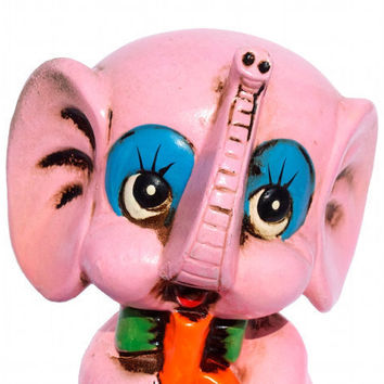 PINK Elephant Coin Piggy Bank Kitschy Retro Mod and Cute / 60s 70s Vintage