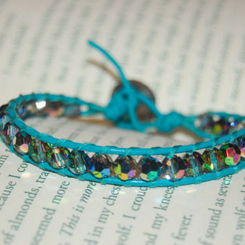 Turquoise Leather Bracelet with Swarovski by authenticaboutique