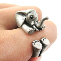 3D Realistic Baby Elephant Animal Wrap Around Ring in Silver | US Sizes 5 to 8.5