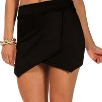 Sale-black Scuba Envelope Skort