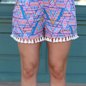 Tribal Flare Shorts {Blue + Magenta}