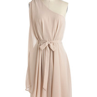 ModCloth Vintage Inspired Mid-length One Shoulder A-line Champagne Soiree Dress